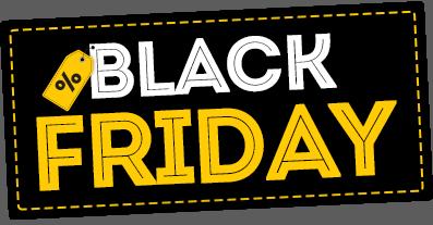 Pôster Black Friday em preto, amarelo e branco com fontes garrafais