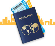 Visto / Passaporte de viagem sobre fundo de Nova York em laranja